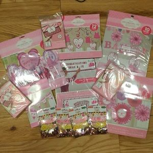 Baby Shower Pink  girl decorations bundle Huge
